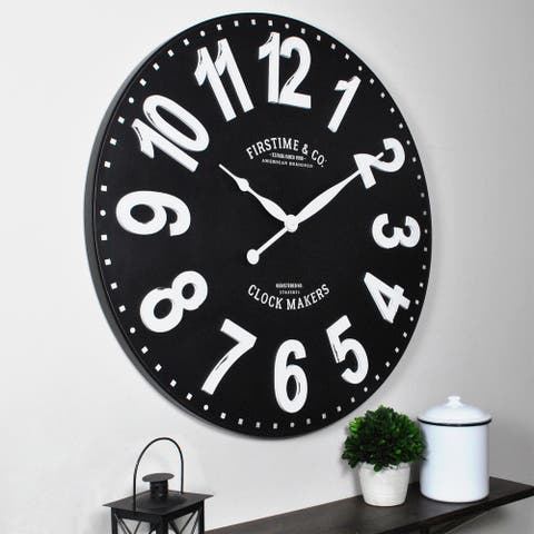 FirsTime & Co.® Sullivan Farmhouse Wall Clock, American Crafted, Black, Plastic, 27 x 2 x 27 in - 27 x 2 x 27 in