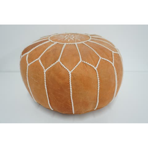 "20"" Genuine Leather Geometric Round Pouf Ottoman Moroccan"