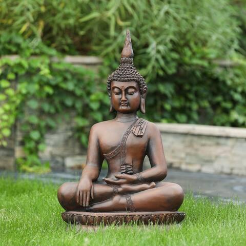 Brown MgO Generous Sitting Buddha Garden Statue