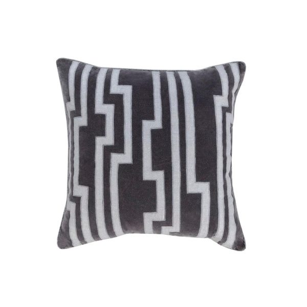"""20"""" Smokey Black and Silver Gray Charming Key Patterned Decorative Throw Pillow-Down Filler"""
