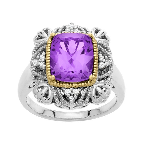 2 7/8 ct Vintage Amethyst Ring with Diamonds in Sterling Silver and 14K Gold - Purple