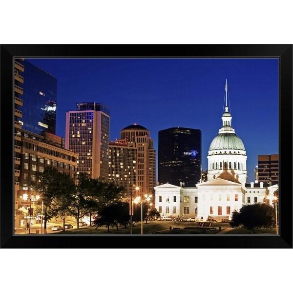 """USA, Missouri, St Louis, Old courthouse illuminated at night"" Black Framed Print"