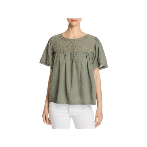 Beach Lunch Lounge Womens Peasant Top Embroidered Bell Sleeve