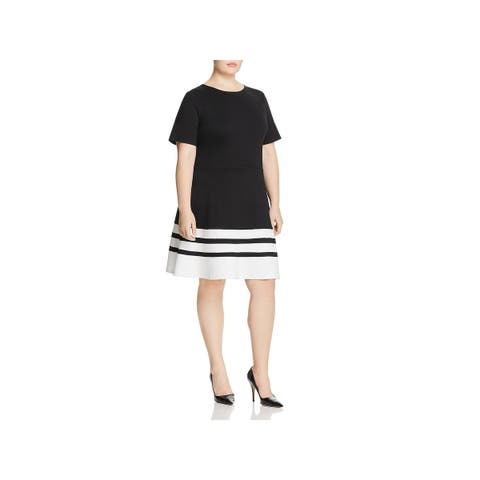 Love Ady Womens Plus Wear to Work Dress Striped Short Sleeve - 2X