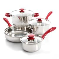 Oster Crawford 7 Piece Stainless Steel Cookware Set- Silver and Red
