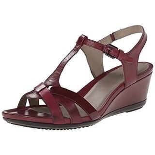 ECCO Womens Leather Wedge T-Strap Sandals - 41 medium (b,m)