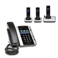 Polycom 2200-48500-001 VVX 501 12-line Business Media Phone with power supply & 3 VVX D60 Handset