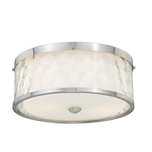 Vaxcel Lighting C0045 Vilo 2 Light Flush Mount Indoor Ceiling Fixture with Clear Water Glass Outer Shade - 12 Inches Wide