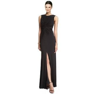 ML Monique Lhuillier Embellished Jersey High Slit V-Back Evening Gown Dress - 8