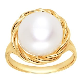 Honora 12 mm Freshwater Button Pearl Twist Ring in 10K Gold