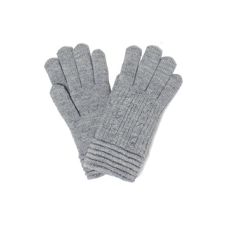 Womens Cable Knit Gloves Ribbed Cuff Lined