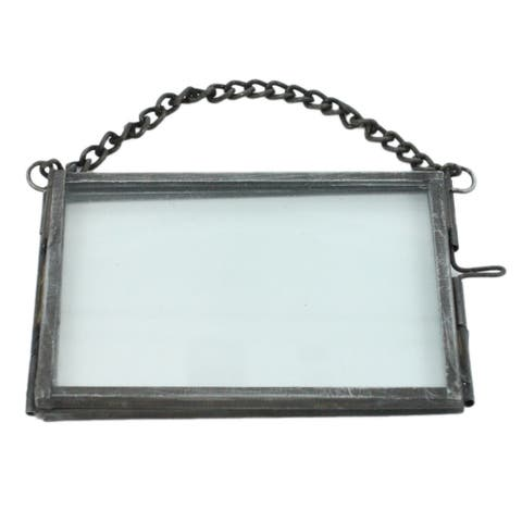 Horizontal Metal Ornament Frame with Chain Hanger, Gray