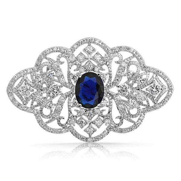 db26ccf996ceb Statement Deco Style Royal Blue Pave CZ Filigree Imitation Sapphire Brooch  Pin For Mother For Women Silver Plated Brass
