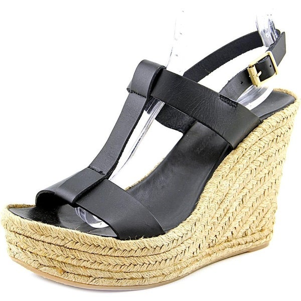 Delman Trish Women  Open Toe Leather Black Wedge Sandal