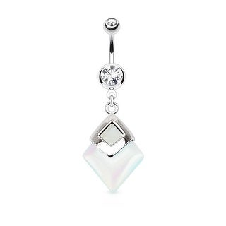 Opalite Diamond Shaped Semi Precious Stone Mounted 316L Surgical Steel Navel Belly Button Ring