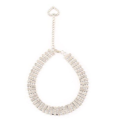 Metal 4 Rows Sparkle Rhinestone Decor Rectangle Shaped Pet Necklace Sliver Tone