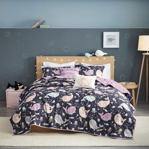 Taylor & Olive Petunia Purple Narwhal Reversible Cotton Coverlet Set
