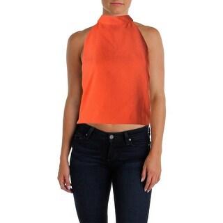 JOA Womens Open Back Tie Neck Crop Top