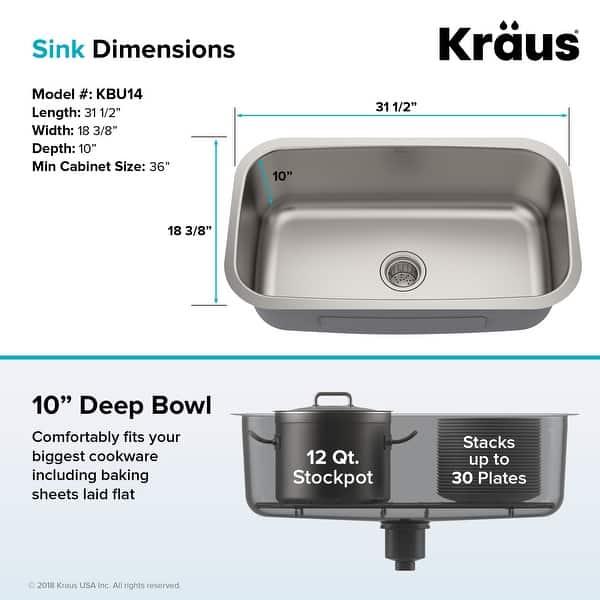 Kraus Premier Stainless Steel 31 1 2 Inch Undermount Kitchen Sink Overstock 5070922