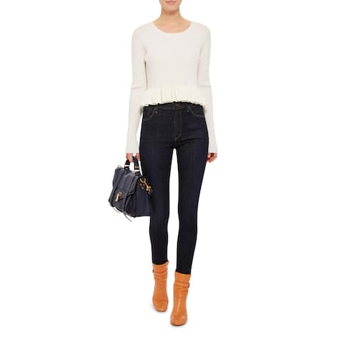 Derek Lam 10 Crosby White Peplum Sweater Size L