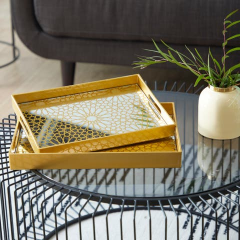 Gold Polypropylene Glam Tray (Set of 2) - 16 x 12 x 2
