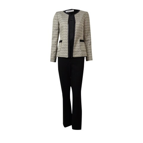 Shop Tahari Women S Barry Empire Couture Tweed Pant Suit 18w Sand