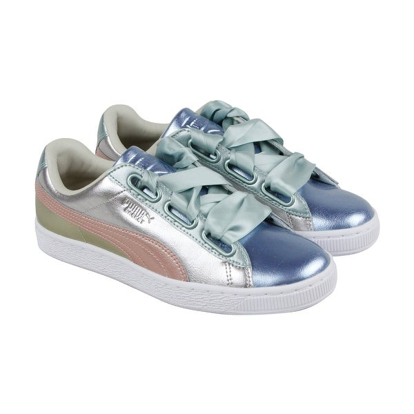 new products 2a270 2c6bf Puma Basket Heart Bauble Fm Womens Silver Leather Sneakers Shoes