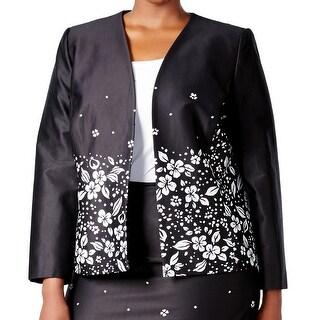 Tahari by ASL NEW Black White Women's Size 22W Plus Floral Jacket