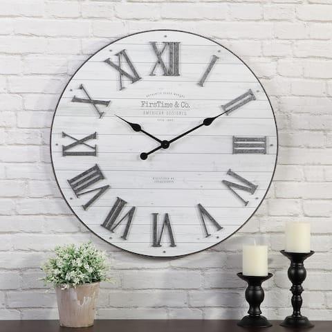 FirsTime & Co.® Emmett Farmhouse Shiplap Wall Clock, American Crafted, Silver Galvanized, Plastic, 27 x 2 x 27 in