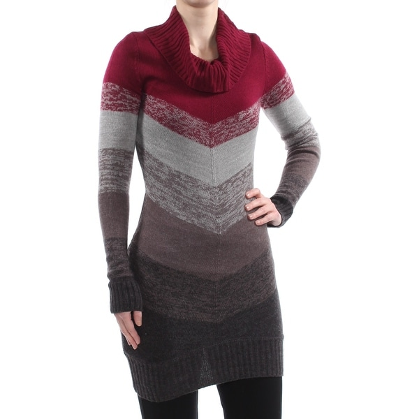 BCX Womens Gray Color Block Long Sleeve Cowl Neck Tunic Top Size: XS