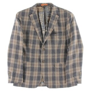 Tallia Mens Two-Button Suit Jacket Plaid Wool