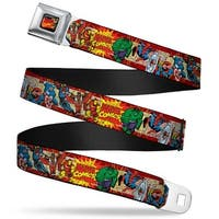 Marvel Comics Marvel Comics Characters Distressed Full Color Black Marvel Seatbelt Belt