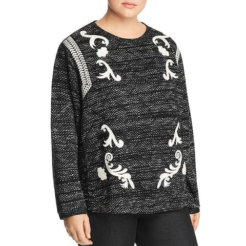 Lucky Brand Womens Plus Pullover Sweater Embroidered Long Sleeves