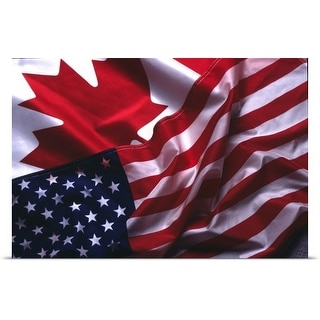 Poster Print entitled An American and Canadian flag