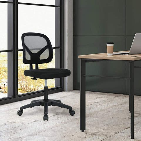 Low-Back, Upholstered Mesh, Swivel Computer Office Chair Adjustable
