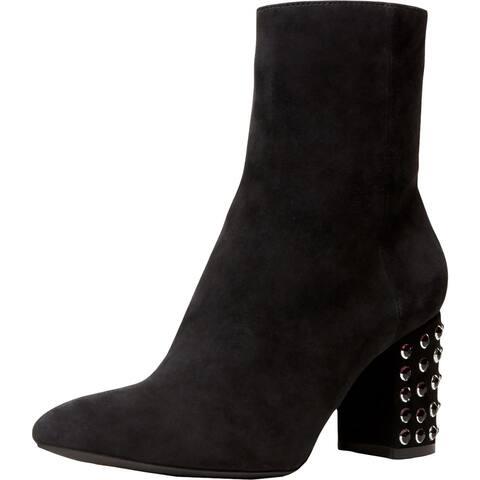 Anne Klein Womens Nakita Booties Suede Embellished Heel - Black Suede