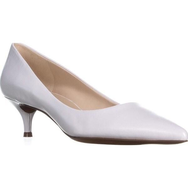 bf4226e0c6 Shop Nine West Illumie Kitten-Heel Pumps, White Leather - Free ...