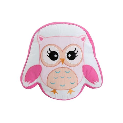 Cozy Line Spring Time Birds Owl Pink Embroidered Polyester Owl Throw Pillow