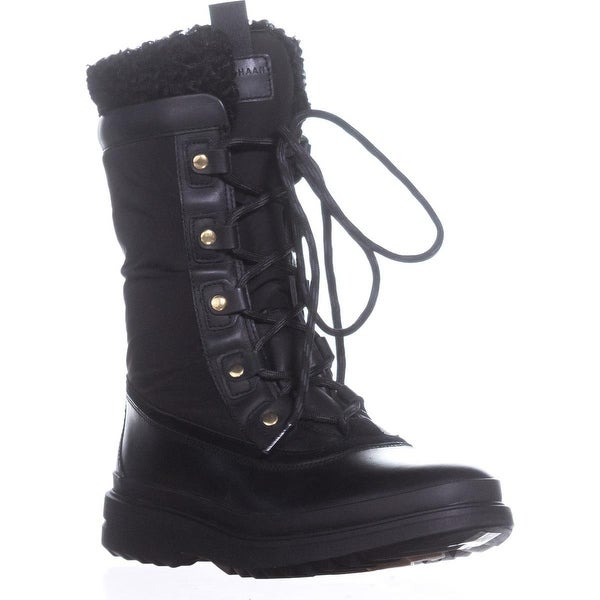 Cole Haan Millbridge Lace up Winter Boots, Black Leather - 8 us