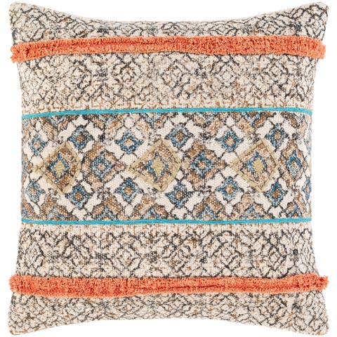 Denae Boho Striped Screen Printed Cotton Throw Pillow