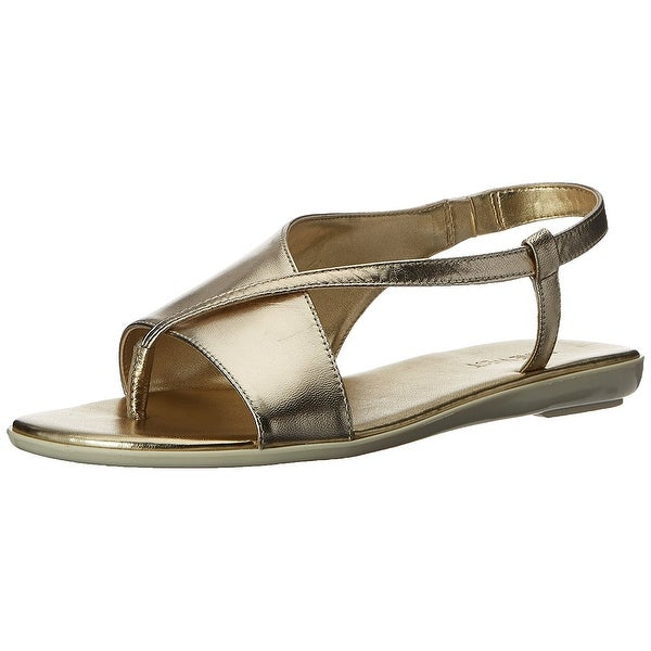 Nine West Womens Golper Leather Split Toe Casual Strappy Sandals