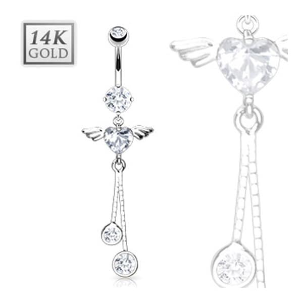 "14 Karat Solid White Gold Navel Belly Button Ring with Angel Wing Heart CZ Dangle - 14GA 3/8"" Long"