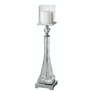 """27"""" Vicenza Twisted Glass Pillar Candleholder with Polished Nickel and Crystal Accents"""