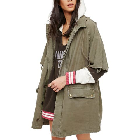 Free People Womens Reworked Cotton Army Military Jacket, green, Small