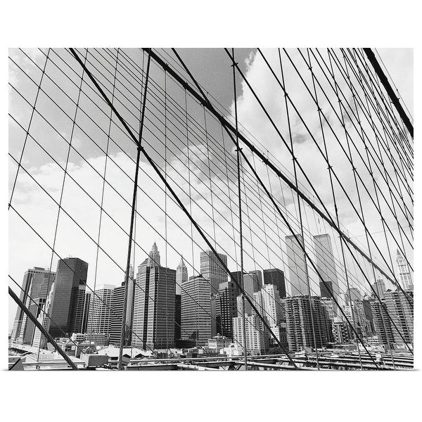 """View of New York from Brooklyn Bridge, USA"" Poster Print"