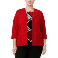 Alfred Dunner Womens Plus Wrap Coat Glitter Open Front