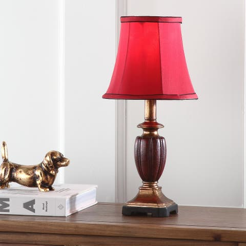 "Safavieh Lighting 16-inch Hermione Urn Red Shade Table Lamp (Set of 2) - 8""x8""x17"""