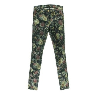 7 For All Mankind Womens Satin Floral Print Skinny Pants - 29