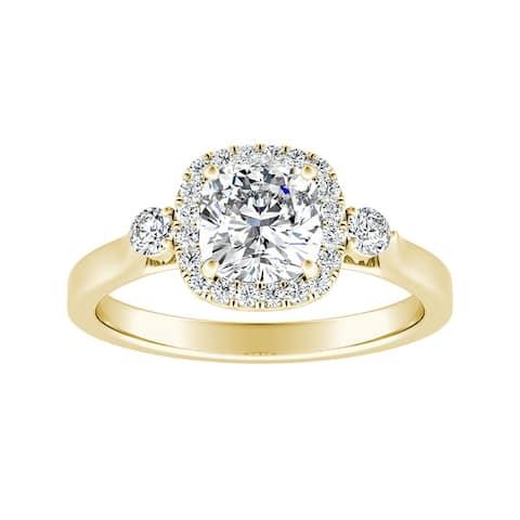 Auriya 14k Gold 1ct Cushion-cut Moissanite and Diamond Halo Engagement Ring 1/4ct TDW