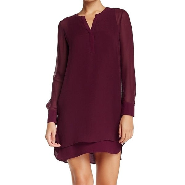 Shop Vince New Red Women S 2 Tunic Double Layer Shirttail